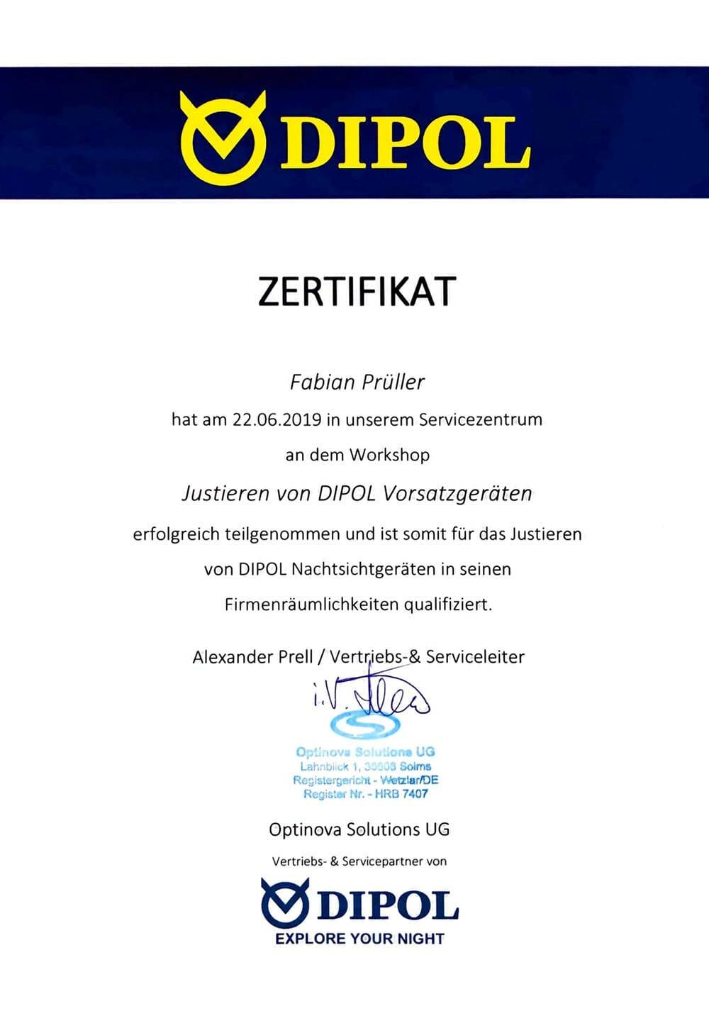 Jagdfux Zertifikat Dipol Justierung